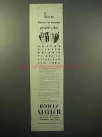 1930 Hotels Statler Ad - Home to 10,000 People A Day