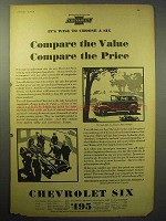 1930 Chevrolet Six Coach Car Ad - Compare the Value