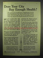 1930 Metropolitan Life Insurance Ad, Does Your City Buy