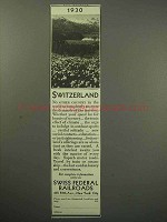 1930 Switzerland Tourism Ad