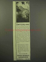 1930 Switzerland Tourism Ad - Swiss Federal Railroads