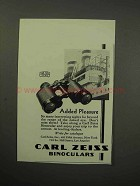 1930 Carl Zeiss Binocular Ad - Added Pleasure