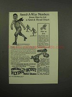 1930 Chicago Flying Scout Roller Skates Ad, Speed-a-Way