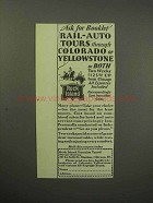 1930 Rock Island Railroad Ad - Rail-Auto Tours