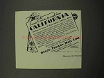 1930 Grace-Panama Mail Line Cruise Ad - California