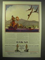 1929 Hawaii Tourism Ad - Diving Boys, Lei-Girls