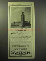 1929 Sweden Tourism Ad - Stockholm, Town Hall