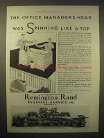 1929 Remington Rand Adding & Accounting Machine Ad - Like a Top