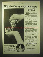1929 Listerine Antiseptic Ad - Funny Way to Escape Cold
