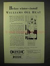 1929 Williams Oil-o-matic Heating Ad - Before Winter
