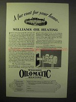 1929 Williams Oil-o-matic Heating Ad, Fur Coat for Home