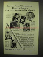 1929 Eberhard Faber Pencil Ad - Helps the Student