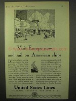 1929 United States Lines Cruise Ad - Visit Europe Now
