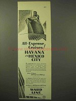 1929 Ward Line Cruise Ad - Havana, Mexico City