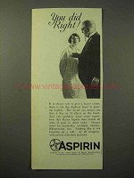 1929 Bayer Aspirin Ad - You Did Right!