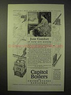 1926 Capitol Boilers, United States Radiators Ad