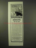 1926 Hamburg-American Line Cruise Ad - Resolute