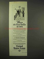 1926 United States Lines Cruise Ad - Four Bells at Sea