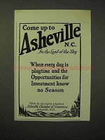1926 Asheville North Carolina Tourism Ad - Come Up To