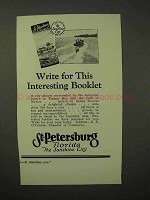 1926 St. Petersburg Florida Tourism Ad - Interesting