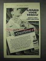 1925 Absorbine Jr. Ointment Ad - Guard Your Throat