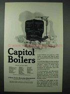1925 Capitol Boilers Ad - Wide Variety of Types & Sizes