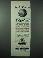 1925 Red Star Line Cruise Ad - World Cruise Belgenland