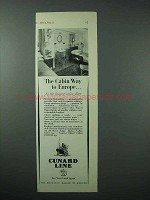 1925 Cunard Line Cruise Ad - The Cabin Way to Europe