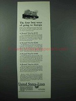 1925 United States Lines Cruise Ad - Four Best Ways