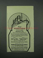 1925 United American Lines Cruise Ad - World Cruises