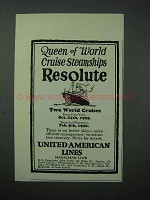 1925 United American Lines Cruise Ad - Resolute