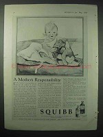 1924 Squibb Medicine Ad - A Mother's Responsibility
