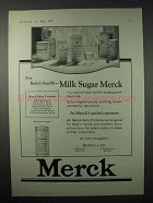 1923 Merck Milk Sugar Ad - For Baby's Health