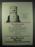 1923 Merck Zinc Stearate Ad - Toilet Powder Sheds Water
