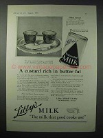 1923 Libby's Evaporated Milk Ad - Custard Rich in Fat