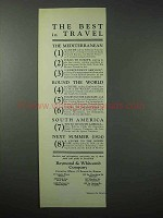 1923 Raymond & Whitcomb Cruise Ad - Best in Travel