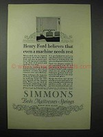 1923 Simmons Mattress Ad - Henry Ford Believes