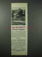 1923 Great Northern Railway Ad - Glacial Cirques