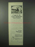1923 San Diego California Tourism Ad - Land of Roses