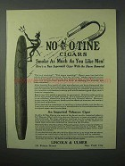 1923 Lincoln & Ulmer No-nic-o-tine Cigar Ad