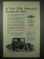 1923 Chevrolet Utility Coupe Car Ad - Wife Marooned