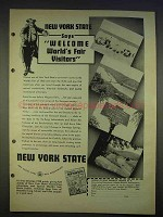 1940 New York State Tourism Ad - World's Fair Visitors
