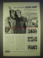 1940 Budd Sleeper Coach Train Ad - We're Going Home