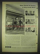 1940 Budd Sleeper Coach Train Ad - Travel in Luxury