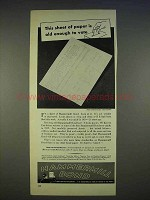 1940 Hammermill Bond Paper Ad - Old Enough to Vote