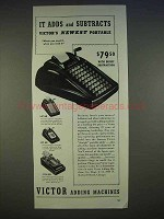 1940 Victor Adding Machines Ad - Adds and Subtracts