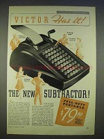 1940 Victor Adding Machines Ad - The Subtractor