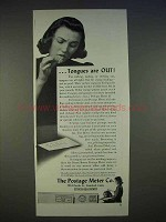 1940 Pitney-Bowes Postage Meter Ad - Tongues are Out