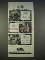 1940 Thermos Ad - Ice Tub, Water Carafe, Picnicker