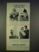 1940 Arrow Shirts Ad - St. Nick Previews Gift Shirts